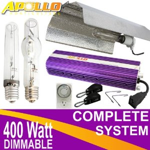 Grow Room Equipment - Apollo 400w Watt HPS MH Grow Light Kit Dimmable Ballast + Wing Reflector & Accessories