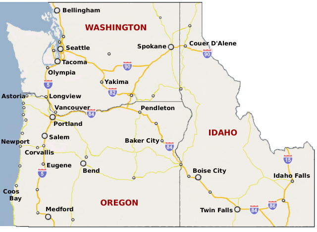 show me a map of alaska with Oregon And Idaho Map on Map also Gulf Of Thailand together with Usa Mexico Map likewise Cities sites as well Yukon Map.