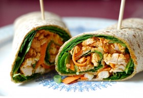 Great Edibles Recipes: Spicy Peanut Chicken Wraps